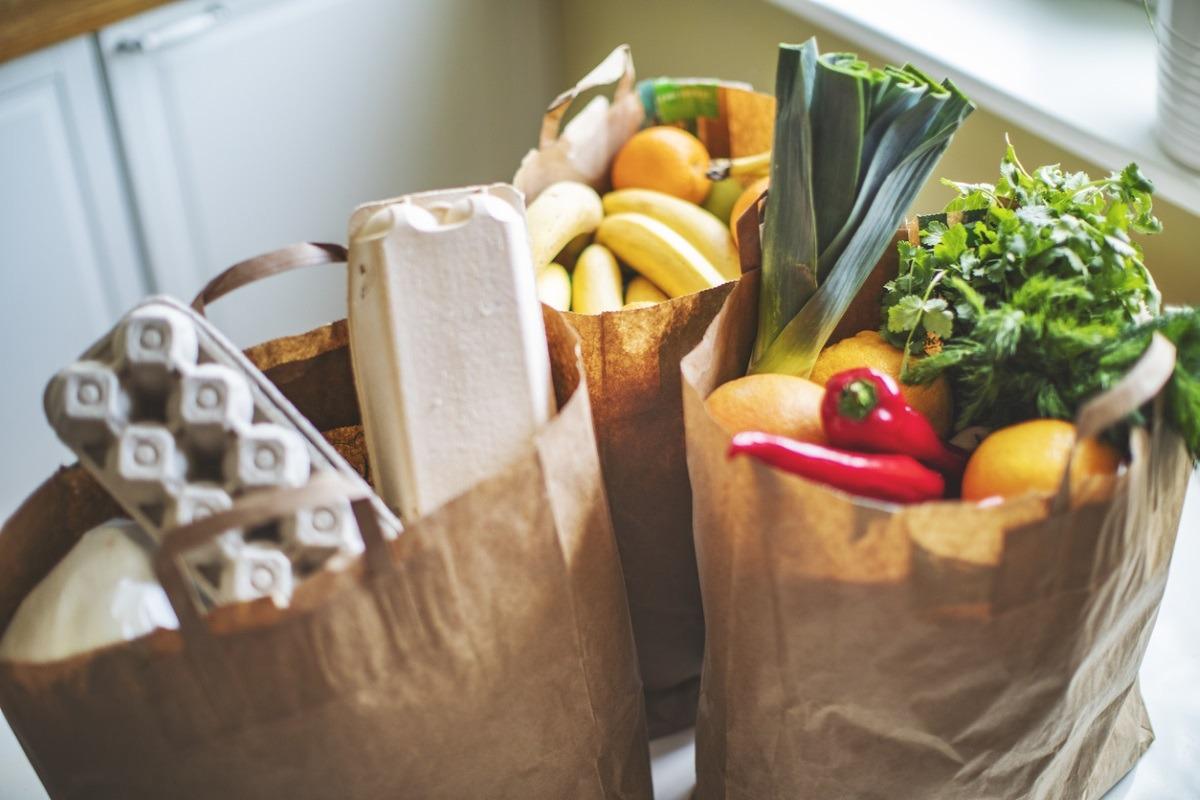 Bolsas compra. Alimentación saludable